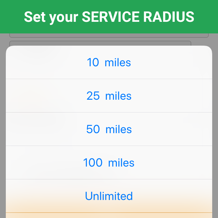 Set Service Radius in ServicePair